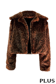 Plus Size Crop Leopard Brown Fur Jacket.