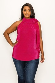 Plus Size Pleated Fabric Easy Wear Top.
