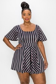 Plus Size Stretch Knit Stripes Bell Sleeve Plus Romper.