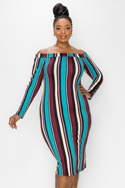 Plus Size Multi Stripes Knit off the shoulder long sleeve Dress