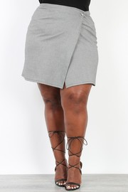 Plus Size Hounds Tooth Wrap Mini Skirt