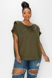 Plus Size Padded Shoulder French terry Knit Short Sleeves easy wear Top.