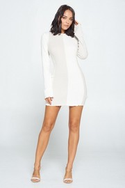 Solid Long Sleeve Mini Dress. Cashmere Fabric.