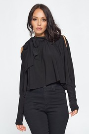 Solid Cold Shoulder Long Sleeve Fashion Top.