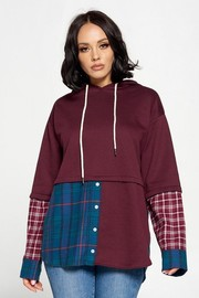 Oversized Hooded Sweater With Adjustable Drawstring solid Color with Plaid Contrast.