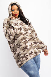 Plus Size Teddy Fleece Tunic Hoodie.