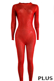Plus Size Long Sleeve Soild Jumpsuit with Beads.