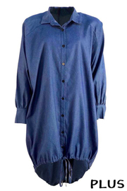 Plus Size Denim Shirt Mini Dress.