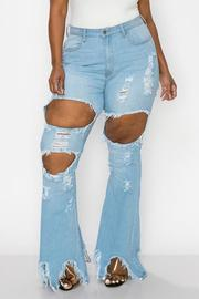 PLUS SIZE HIGHRISE CURVY FLARE JEAN FRONT & HIP SIDE WITH HEAVY DISTRESSED SEXY FLARE