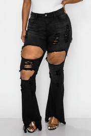 PLUS SIZE HIGHRISE CURVY FLARE BLACK JEAN FRONT & HIP SIDE WITH HEAVY DISTRESSED SEXY FLARE