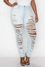 PLUS SIZE HIGHRISE CURVY SKINNY JEANS FRONT & BACK SIDE WITH HEAVY DISTRESSED SEXY SKINNY