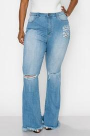 PLUS SIZE HIGHRISE CURVY FLARE JEAN FRONT KNEE CUT & BACK SIDE WITH HEAVY DISTRESSED SEXY FLARE