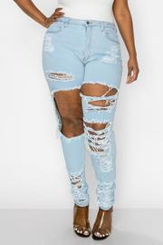 PLUS SIZE HIGHRISE CURVY SKINNY JEANS FRONT SIDE & HIP WITH HEAVY DISTRESSED SEXY SKINNY