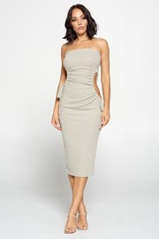 Strapless Solid Color Bodycon Dress, Ruched Cut out Tie Detail Sides.