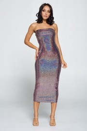 Square Sequins Fabric Tube Dress.