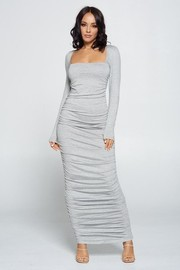 Solid Shirring Maxi Dress.