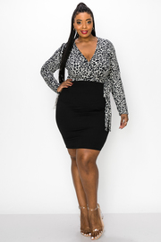 Plus Size V Neck Wrap Dress with Waist Tie and Long Sleeves