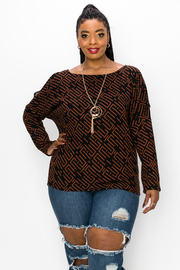 Plus Size Top Boat Neck Long Sleeve with Slit's