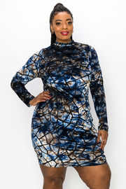 Plus Size Printed High Neck Long Sleeve Dress