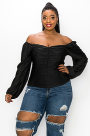Plus Size Off the Shoulder Top with Bell Sleeves with Ruched detail