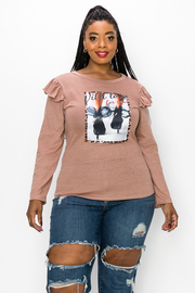 Plus Size Long Sleeve Top With Ruffle On the Shoulders
