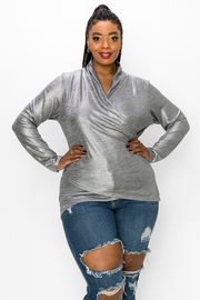 Plus Size Wrap Long Sleeve Top With Metallic Detail