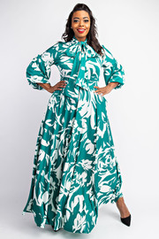 Plus Size 3/4 Sleeve Tie Neck Maxi Dress with Pockets.