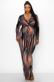 Plus Size Maxi Dress With Deep V Neck Wrap and Long Sleeve