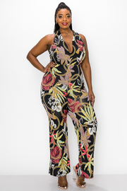 Plus Size Printed Halter Neck Jumpsuit