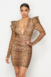 Semi sheer animal printed puff sleeved dress.