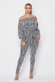 Off shoulder jumpsuit.