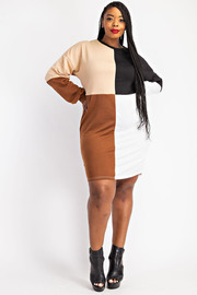 Plus Color Block Sweatshirt Dress.