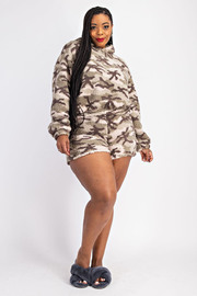 Plus Size Teddy Fleece Hoodie and Short Set.