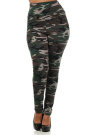 Plus Size High Waist camo print Leggings with banded waistline.