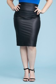 Plus Size Faux Leather High Waist banded pencil Skirt.