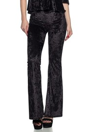 Solid Velvet/Velour bell bottom pants with elastic waistband.