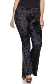 Plus Size Solid Velvet/Velour bell bottom pants with elastic waistband.