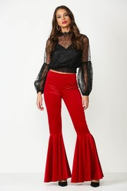 Full Length Velvet Mermaid Ruffled Flare Pants.