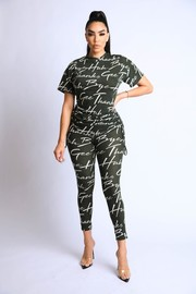 Ruched side printed terry lounge set