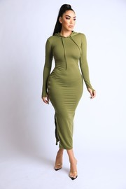 Terry hooded maxi dress with side slit zipper