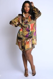 Plus Size Scarf printed silky shirts dress