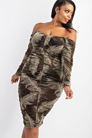 Plus Size Off shoulder All Around Shirred Dress.