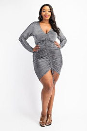 Plus Size Long Sleeve Ruched Front Dress.