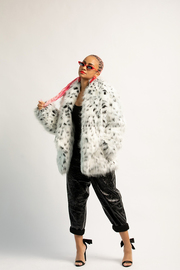 White Leopard Fur Jacket.