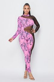 Long Sleeve Print Jumpsuit with Mesh Detail.