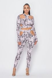 Long Sleeve Print Sexy Jumpsuit.