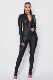 Python Pleather zip up jumpsuit with slits.