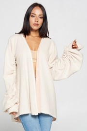 French Terry Brush Fabric Long Sleeve Cardigan.