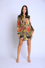 Scarf printed silky shirts dress