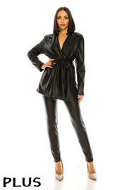 Plus Size 2 Pcs Set. Leggings & Jacket faux Set.